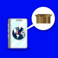 Box Carton Lieferservice im Smartphone vektor