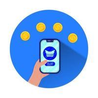 smartphone med e-handel med varukorg