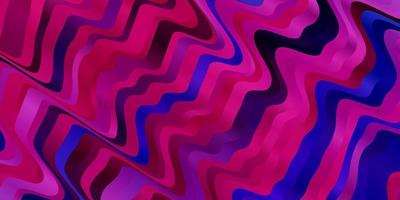 dunkelrosa, blaues Vektormuster mit gekrümmten Linien.