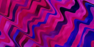 mörkrosa, blå vektormönster med böjda linjer.