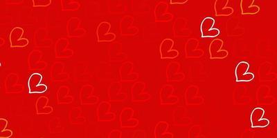 ljus orange vektor mönster med färgglada hjärtan.