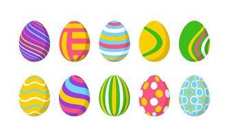 Set mit 10 farbigen Ostereiern mit Muster vektor