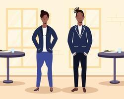 afrikanska unga par i restaurangscenen vektor