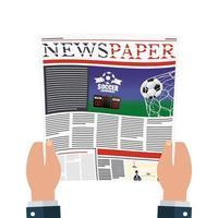Person, die Zeitung mit Fußball und sozialer Distanzierung liest vektor