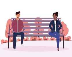 Interracial junge Paar Liebhaber in den Park Stuhl Avatare Charaktere