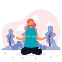 ung kvinna tränar yoga avatar karaktär vektor