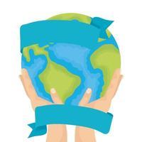 Hände heben Weltplaneten Erde Wasser Tag Ikone
