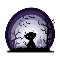 schwarzes Maskottchen der Halloween-Katze und Fledermäuse, die in der dunklen Szene fliegen vektor