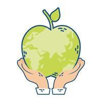 händer som lyfter världsplaneten jorden med äppleform vektor