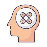 Profil Mensch mit Heilbinden flachen Stil vektor