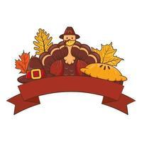tacksägelsekalkon som bär pilgrimhatt med löv och paj