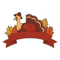 tacksägelsekalkon som bär pilgrimhatt med löv och bandram