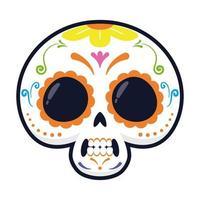 traditioneller mexikanischer Schädelkopf flache Artvektorillustrationsentwurf vektor
