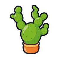 kaktus mexikansk växt i keramisk kruka platt stil ikon vektorillustration design