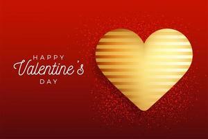 Alla hjärtans dag flygblad röd bakgrund med guld hjärta vektor