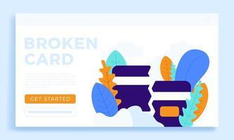 gebrochene Kreditkarte Vektor Lager Illustrationd