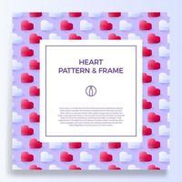 Plakat-, Banner- oder Kartenrahmengrenze mit isometrischem Liebesherz vektor