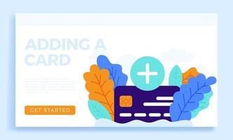 plus-knapp och kreditkort vektor