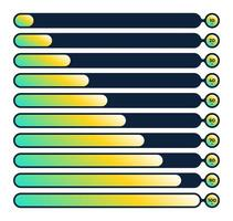 Flüssigkeitsfortschritts-Ladestange eingestellt