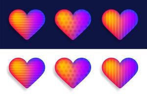 Vektorsatz der bunten realistischen Herzen