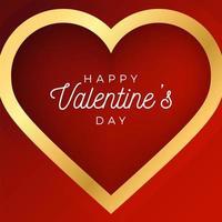 Alla hjärtans dag abstrakt bakgrund med rött och guld kontur hjärta vektor