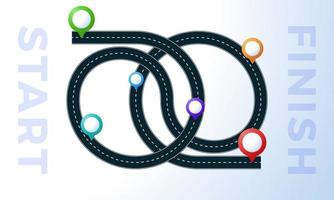 vägen från punkt till slut design vektor