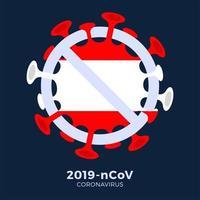Österreich Flaggenzeichen Vorsicht Coronavirus-Zelle