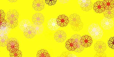 ljusröd, gul vektor naturligt konstverk med blommor.