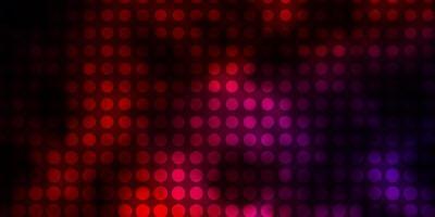 dunkelrosa, roter Vektorhintergrund mit Kreisen.