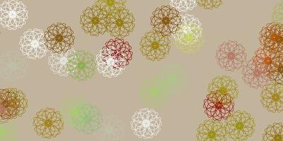 ljusgrön, gul vektor naturlig bakgrund med blommor.