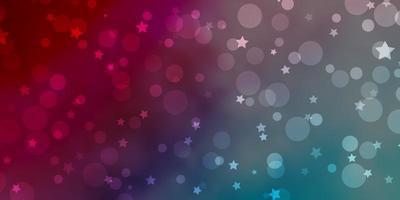 hellblaues, rotes Vektormuster mit Kreisen, Sternen. vektor