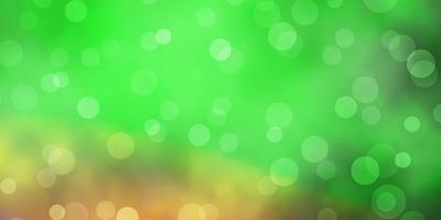 hellgrüner, roter Vektorhintergrund mit Kreisen.