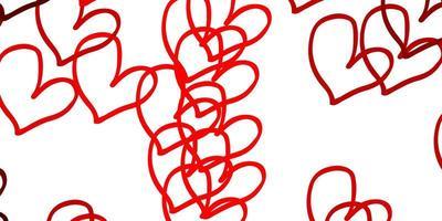 ljusröd vektorbakgrund med söta hjärtan.