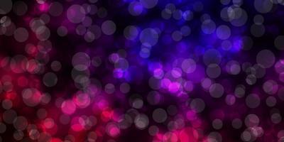 mörkrosa, blå vektorbakgrund med cirklar.