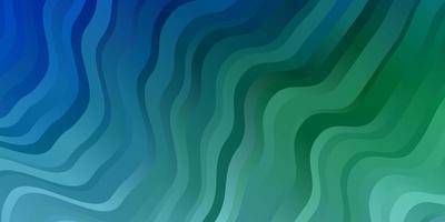 hellblauer, grüner Vektorhintergrund mit gebogenen Linien.