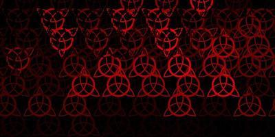 mörk röd vektor bakgrund med ockulta symboler.