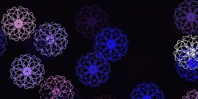 ljuslila vektor doodle textur med blommor.