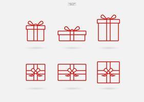Geschenkbox-Symbol. Weihnachtsgeschenkbox Zeichen und Symbol. Vektor.