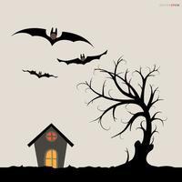abstrakter Baum in der dunklen Nacht. Halloween Hintergrund. Vektor. vektor