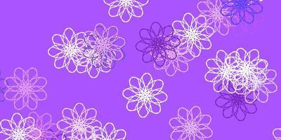 hellviolette Vektor Gekritzel Textur mit Blumen.