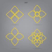 thailändisches Blumensymbolset. Volkskunst des Blumenelements. Vektor. vektor