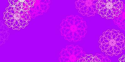 hellviolette Vektor Gekritzelschablone mit Blumen.