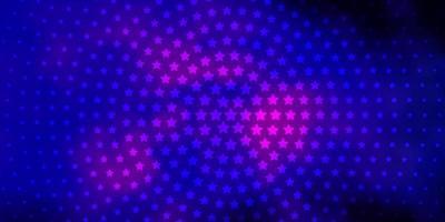 dunkelrosa, blauer Vektorhintergrund mit kleinen und großen Sternen. vektor