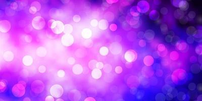 mörk lila, rosa vektormall med cirklar. vektor