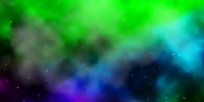 ljus flerfärgad vektormall med neonstjärnor.