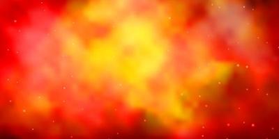 dunkelorange Vektorlayout mit hellen Sternen.