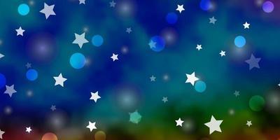 mörk flerfärgad vektorbakgrund med cirklar, stjärnor.