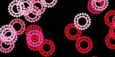 dunkelrosa Vektorhintergrund mit Virensymbolen.
