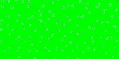 hellblauer, grüner Vektor Gekritzelhintergrund mit Blumen.