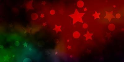 dunkler mehrfarbiger Vektorhintergrund mit Kreisen, Sternen.